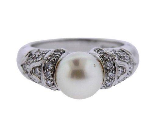 f4a03128f0001 Bvlgari Bulgari 18k Gold Diamond Pearl Ring