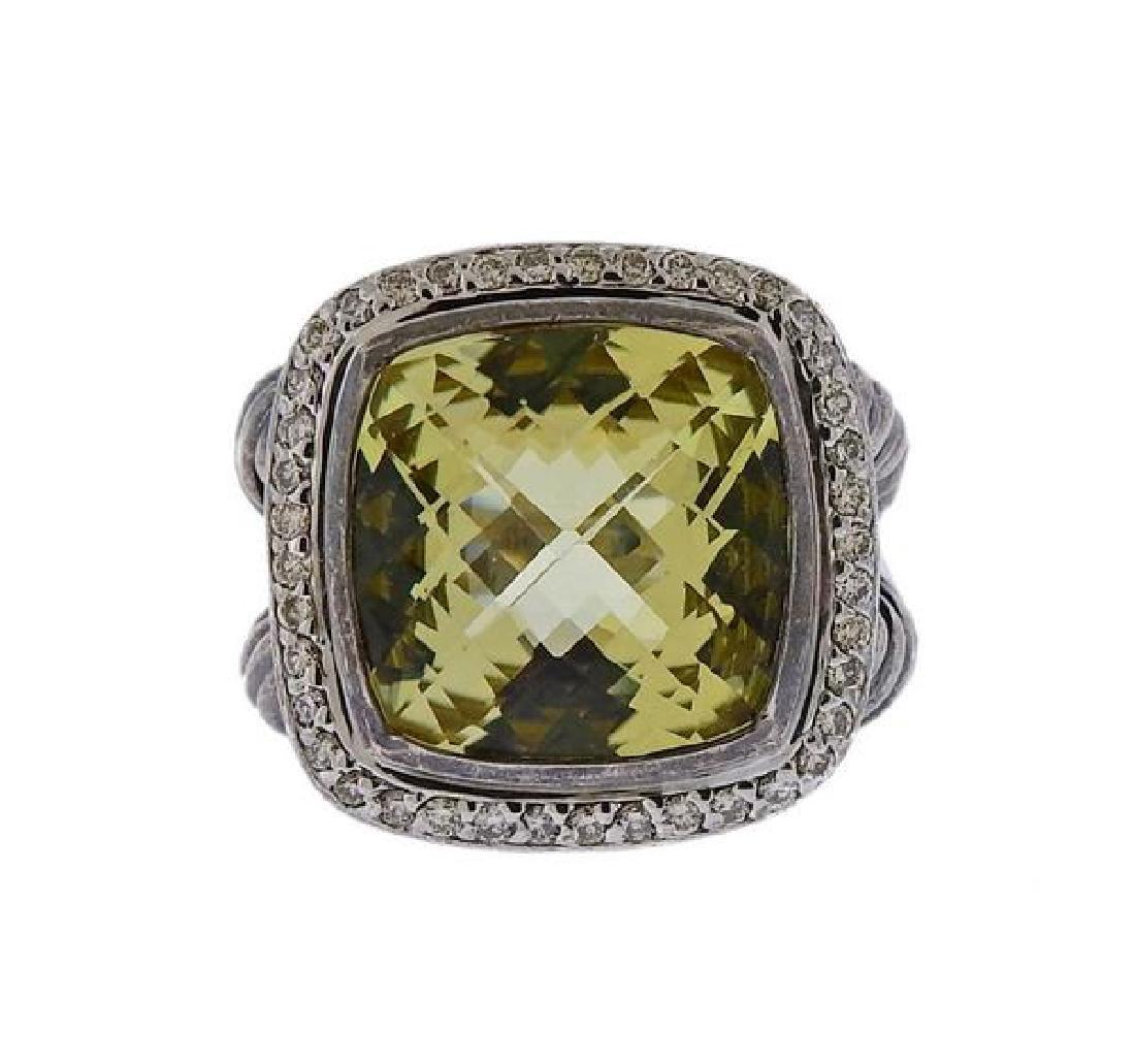 David Yurman Albion Silver Diamond Prasiolite Ring