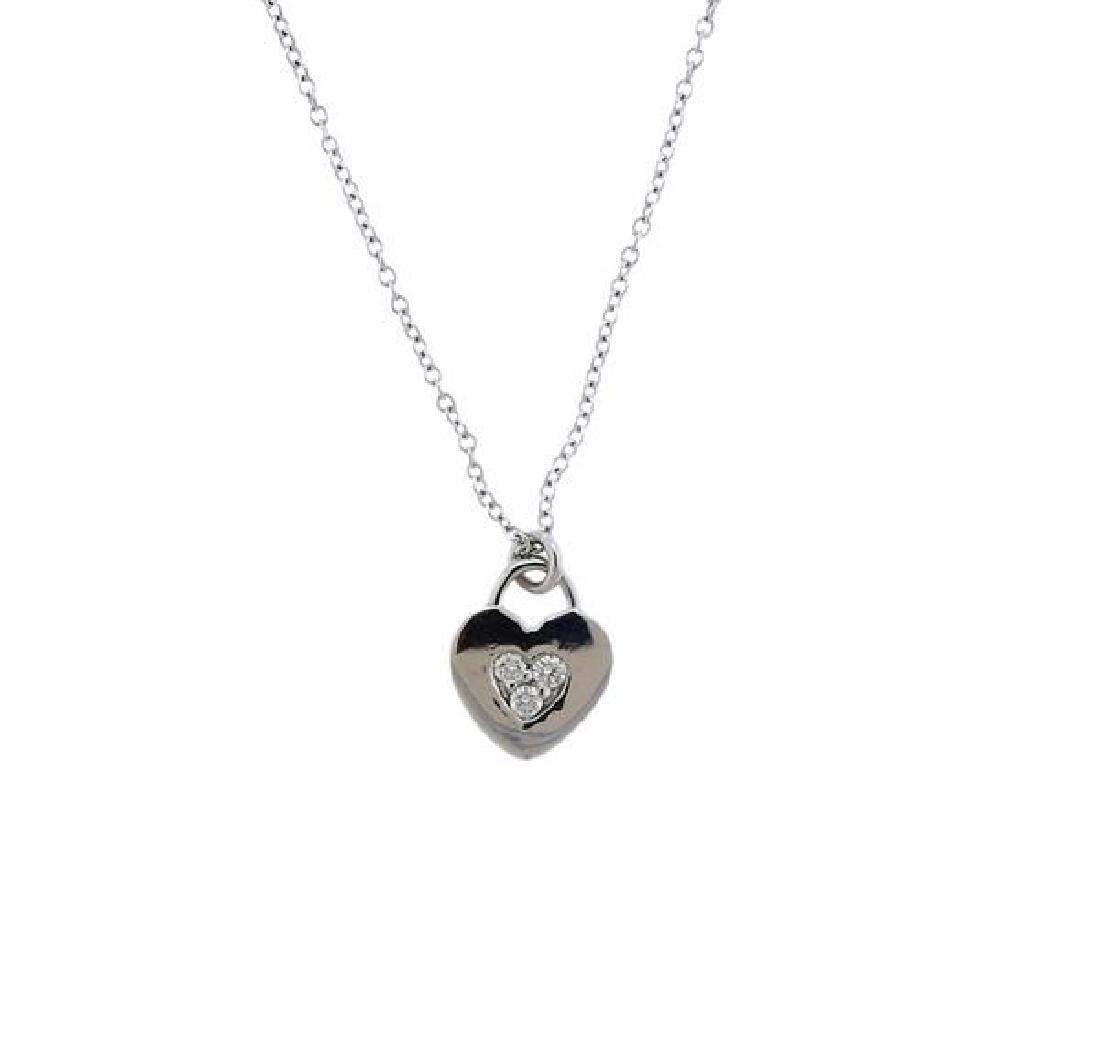 Tiffany & Co 18k Gold Diamond Heart Pendant