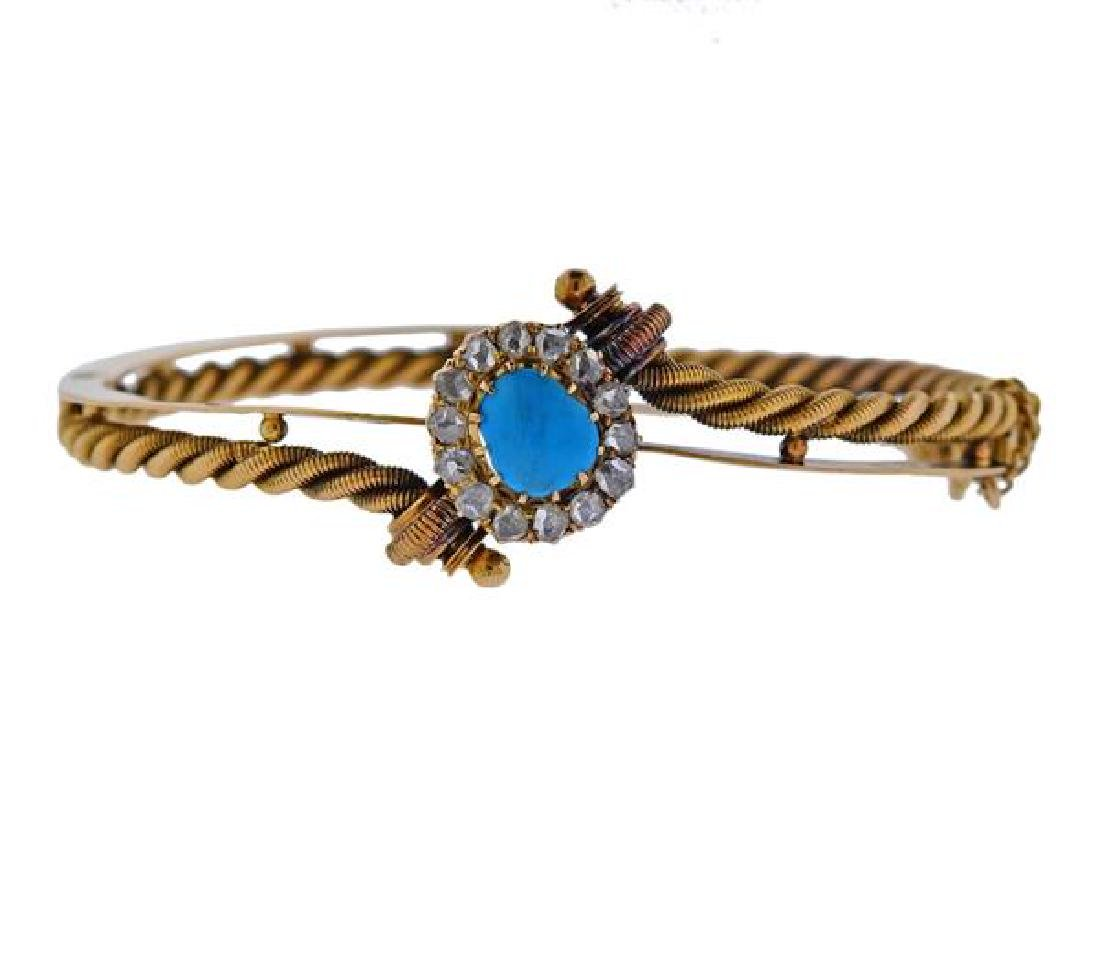Antique Russian 14K Gold Diamond Turquoise Bracelet