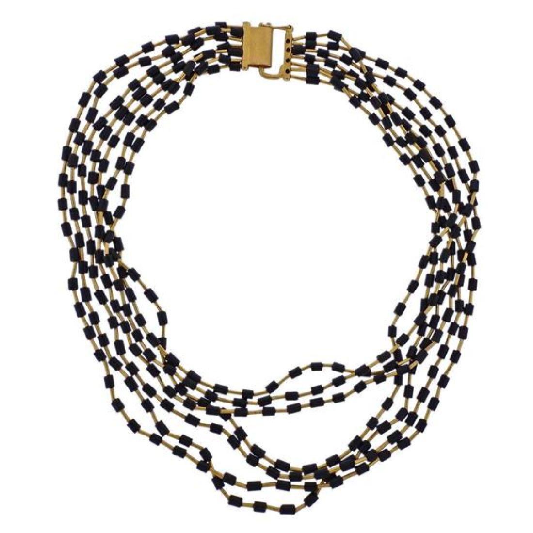 Yossi Harari 24k Gold Jet Bead Multi Strand Necklace