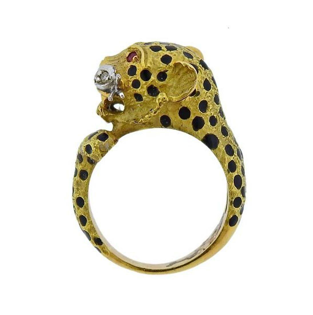 18K Gold Diamond Ruby Enamel Leopard Ring