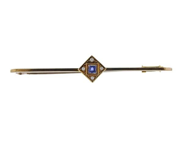 Antique 9K Gold Blue Stone Pearl Brooch Pin