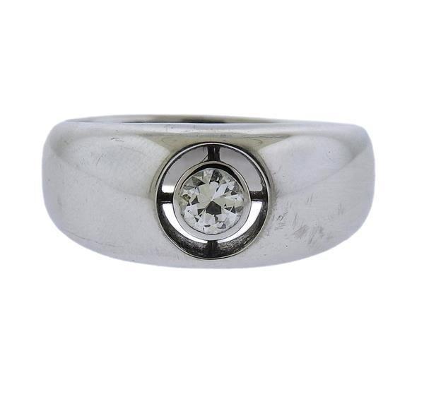 18K Gold Diamond Engagement Band Ring