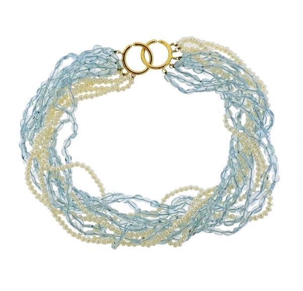 Tiffany & Co Picasso 18k Gold Pearl Aquamarine