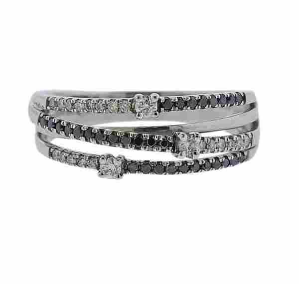 18K Gold Black White Diamond Ring