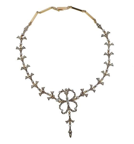 18K Gold Silver Diamond Clear Stone Necklace