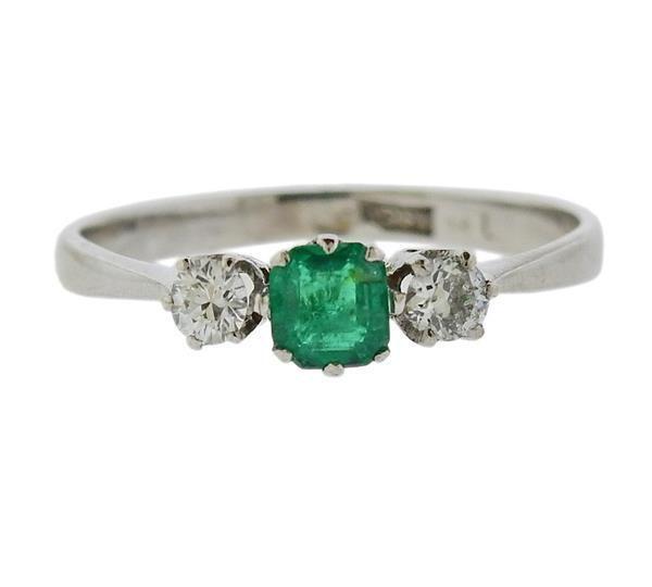 18K Gold Diamond Emerald Ring