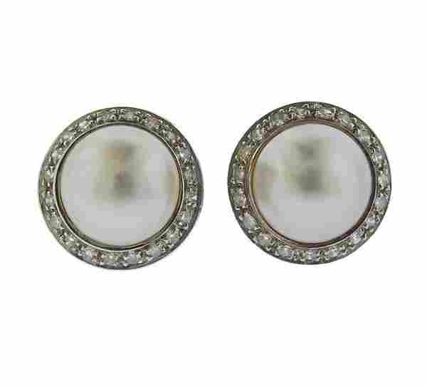 14K Gold Diamond Pearl Button Earrings