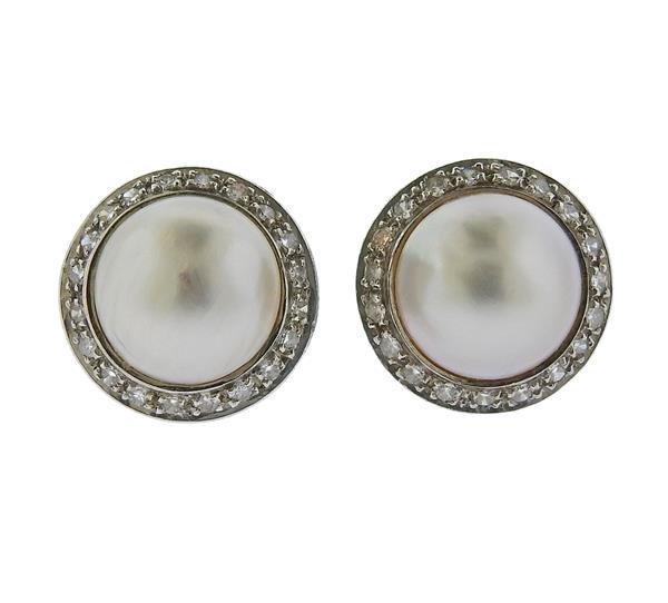 14K Gold Diamond Pearl Button Earrings