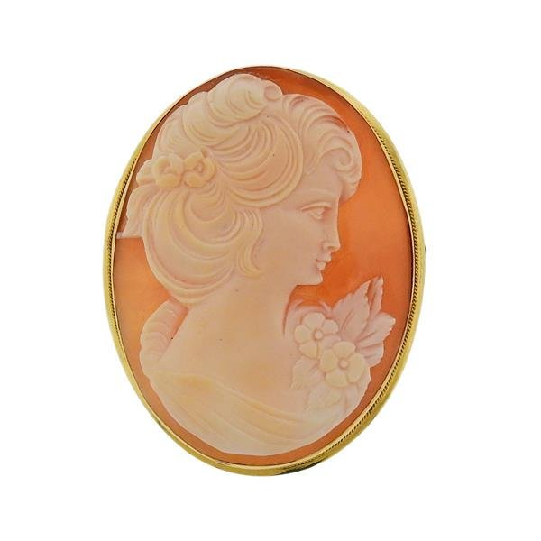 18K Gold Shell Cameo Pendant Brooch