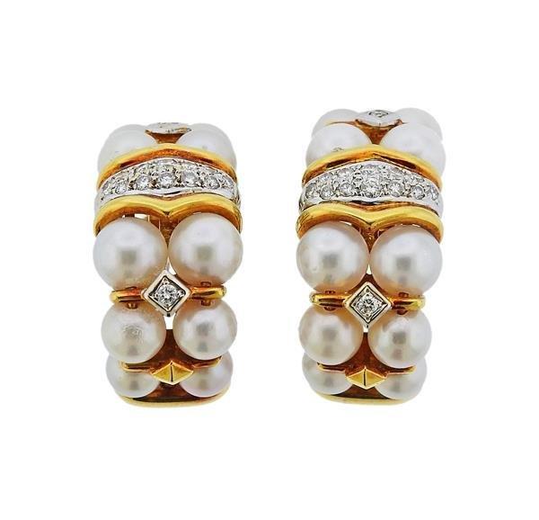 18K Gold Diamond Pearl Half Hoop Earrings