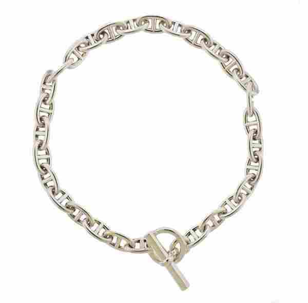 Hermes Sterling Silver Link Toggle Necklace