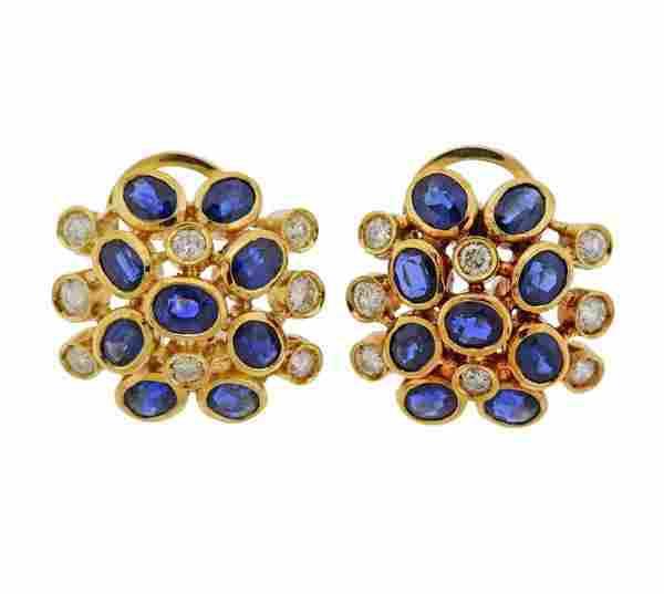 18K Gold Diamond Sapphire Hoop Earrings