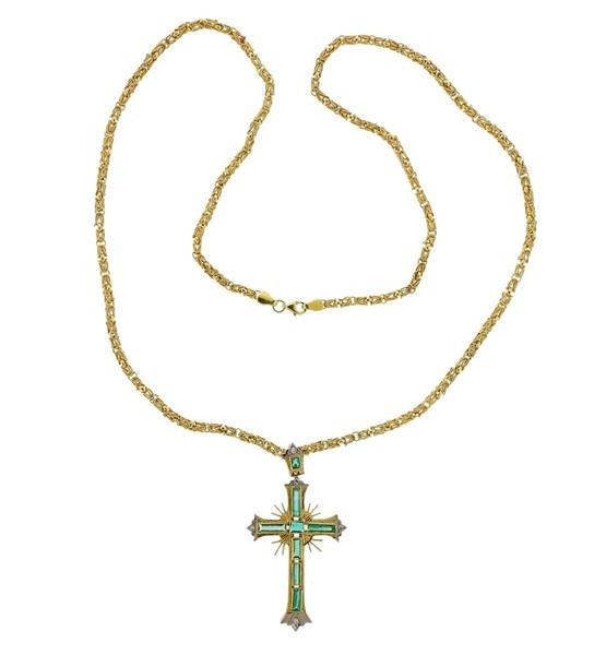 18K Gold Diamond Emerald Cross Pendant Necklace