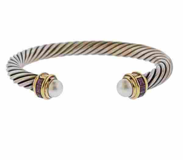 David Yurman Pearl Tourmaline 14k Gold Silver Cable
