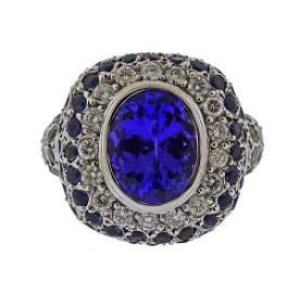 18k Gold Tanzanite Diamond Gemstone Ring