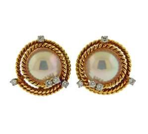 Tiffany & Co Schlumberger 18K Gold Diamond Pearl