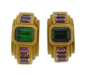 Kieselstein Cord 18K Gold Tourmaline Hoop Earrings