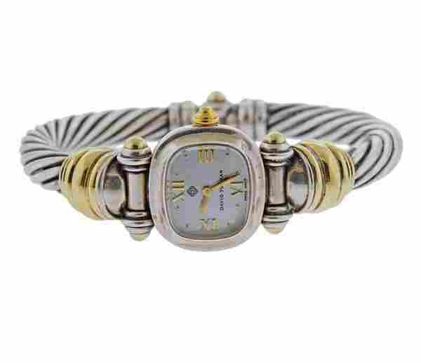 David Yurman 14k Gold Silver Cable Watch Bracelet
