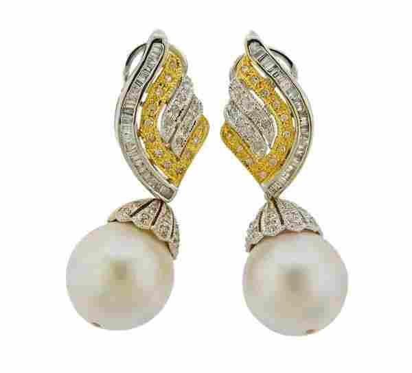 14K Gold Diamond Pearl Drop Earrings