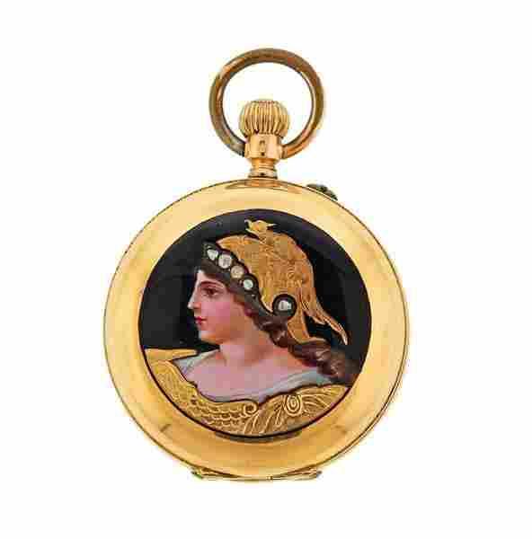 Antique 18k Gold Miniature Portrait Enamel Pocket Watch