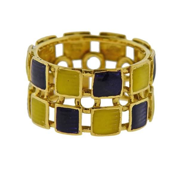 Gucci 1970s Enamel 18k Gold Wide Band Ring