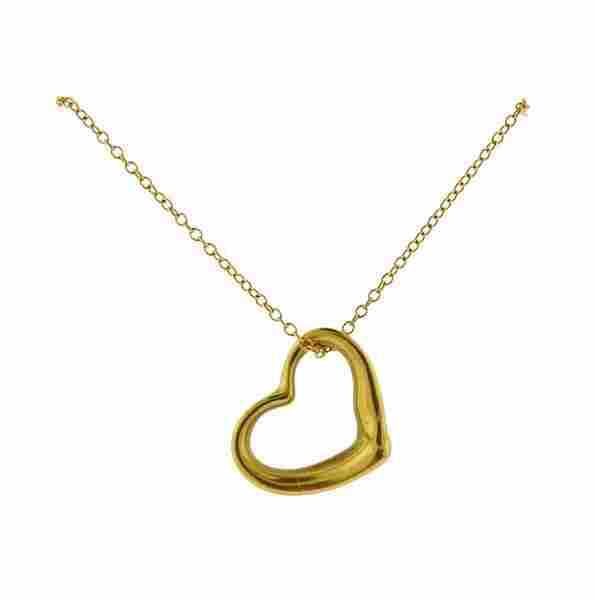 Tiffany & Co Peretti Open Heart 18k Gold Necklace
