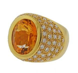18k Gold Diamond Citrine Ring