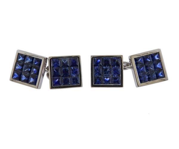 Deakin & Francis 18K Gold Sapphire Cufflinks