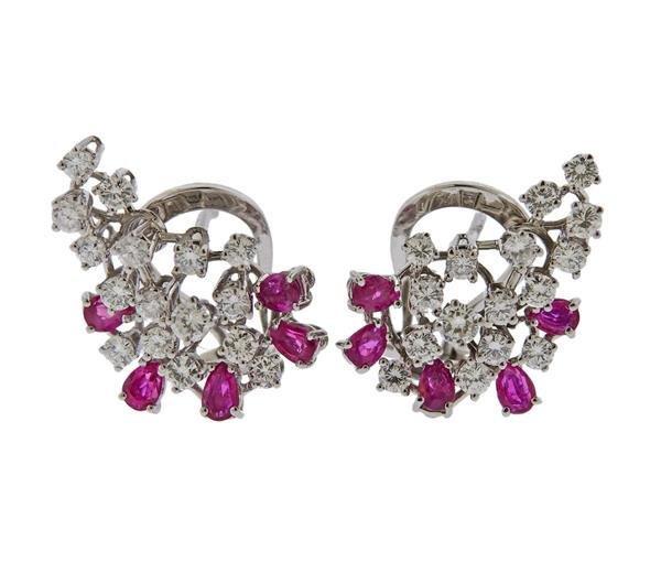 18k Gold Diamond Ruby Cluster Earrings