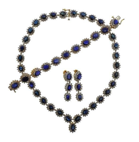 14K Gold Diamond Sapphire Jewelry Set