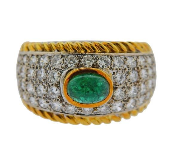 18K Gold Diamond Emerald Band Ring