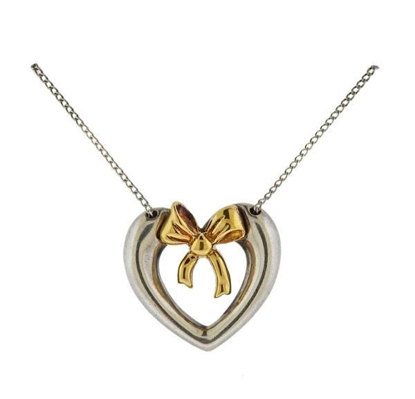 Tiffany & Co Silver 18K Gold Heart Pendant Necklace