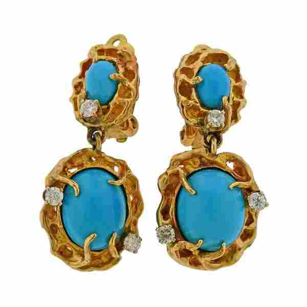 1970s Free Form 14K Gold Diamond Turquoise Earrings