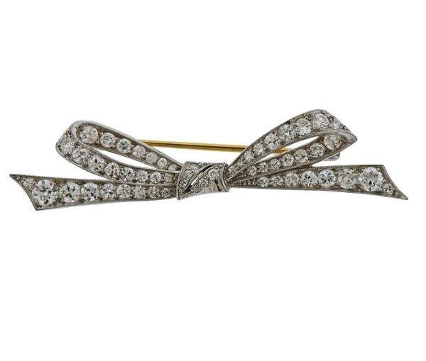 Tiffany & Co Platinum Diamond Bow Brooch Pin