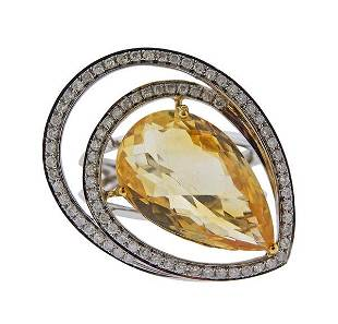 18K Gold Diamond Citrine Cocktail Ring