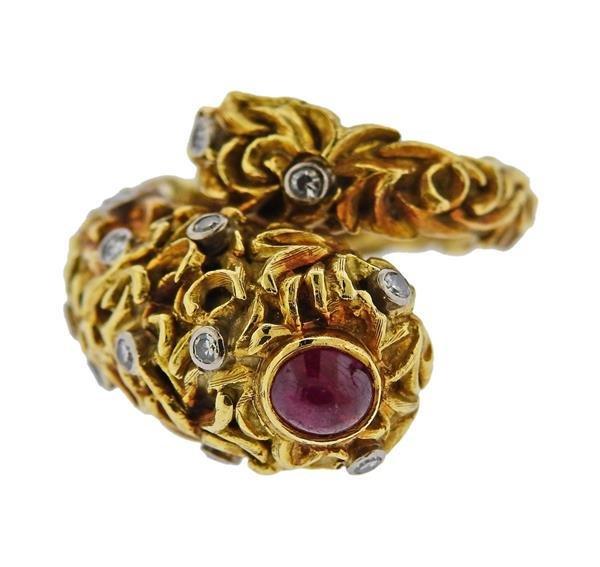 Zolotas Greece 18K Gold Diamond Ruby Bypass Ring