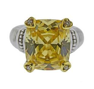 Judith Ripka 18k Gold Sterling Diamond Canary Crystal