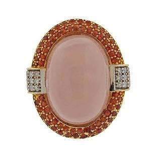 14K Gold Diamond Rose Quartz Cocktail Ring