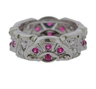 14K Gold Diamond Red Stone Eternity Band Ring