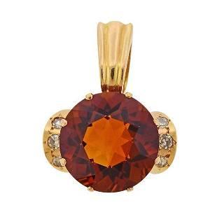 14k Gold Diamond Citrine Pendant