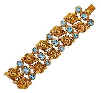Vasari 18k Gold Blue Topaz Bracelet