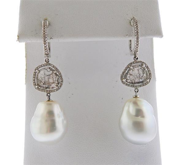14K Gold Diamond Baroque Pearl Drop Earrings