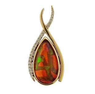 14K Gold Diamond Fire Opal Pendant