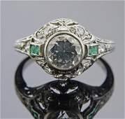Art Deco Platinum Diamond Emerald Engagement Ring