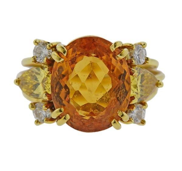 GIA Yellow Diamond 18k Gold Citrine Ring