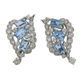 1950s Platinum Aquamarine Diamond Earrings