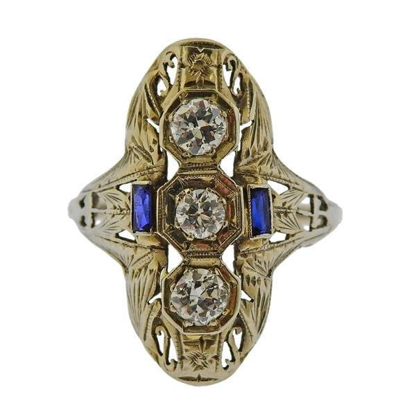Art Deco 18k Gold Diamond Ring