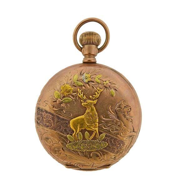 Antique Elgin Four Color Gold Filled Pocket Watch